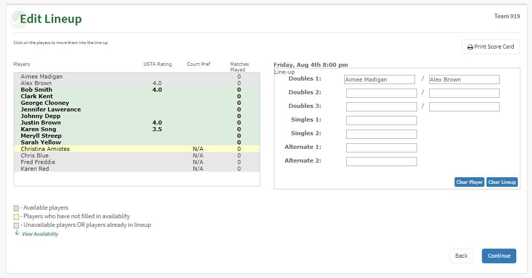MTG Team Scheduler Team Lineup